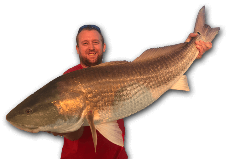 An image of a Tidewater Charters guest with a large redfish.