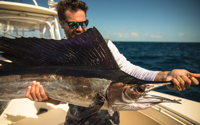 An image of an angler on board a Florida Keys Fishing Charters with Tidewater Charters.