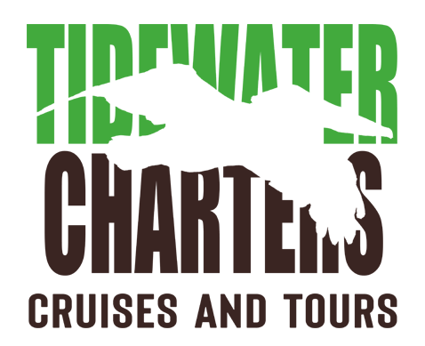 An image of the Tidewater Charters Cruises and Tours logo with pelican logo.
